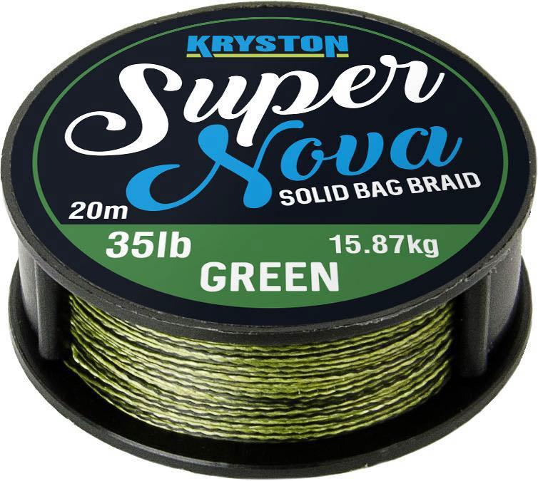 Kryston pletené šňůrky - Super Nova solid braid zelený 35lb 20m