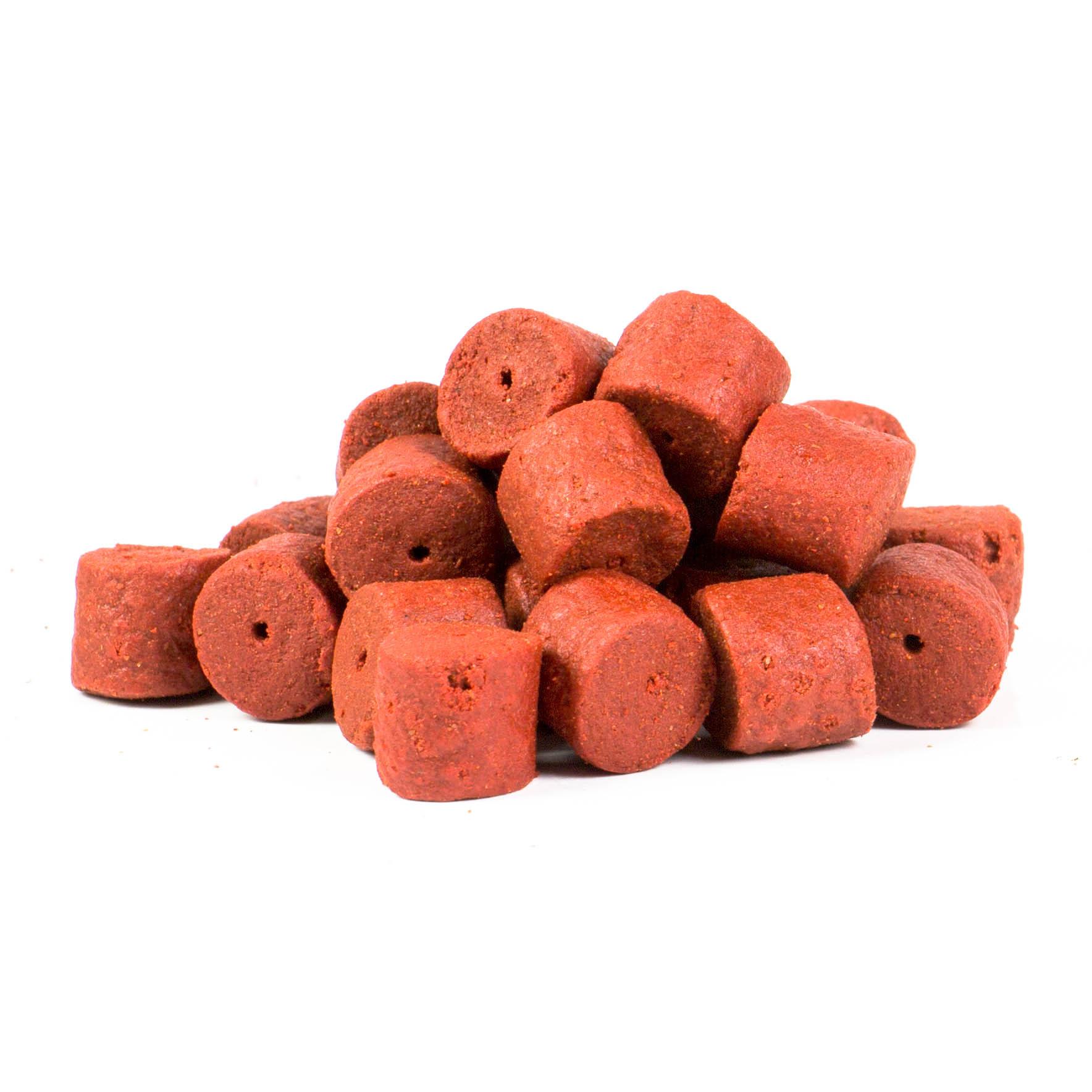 Pelety 10kg combo - Red fish Halibut 14mm + 100ml lososový olej