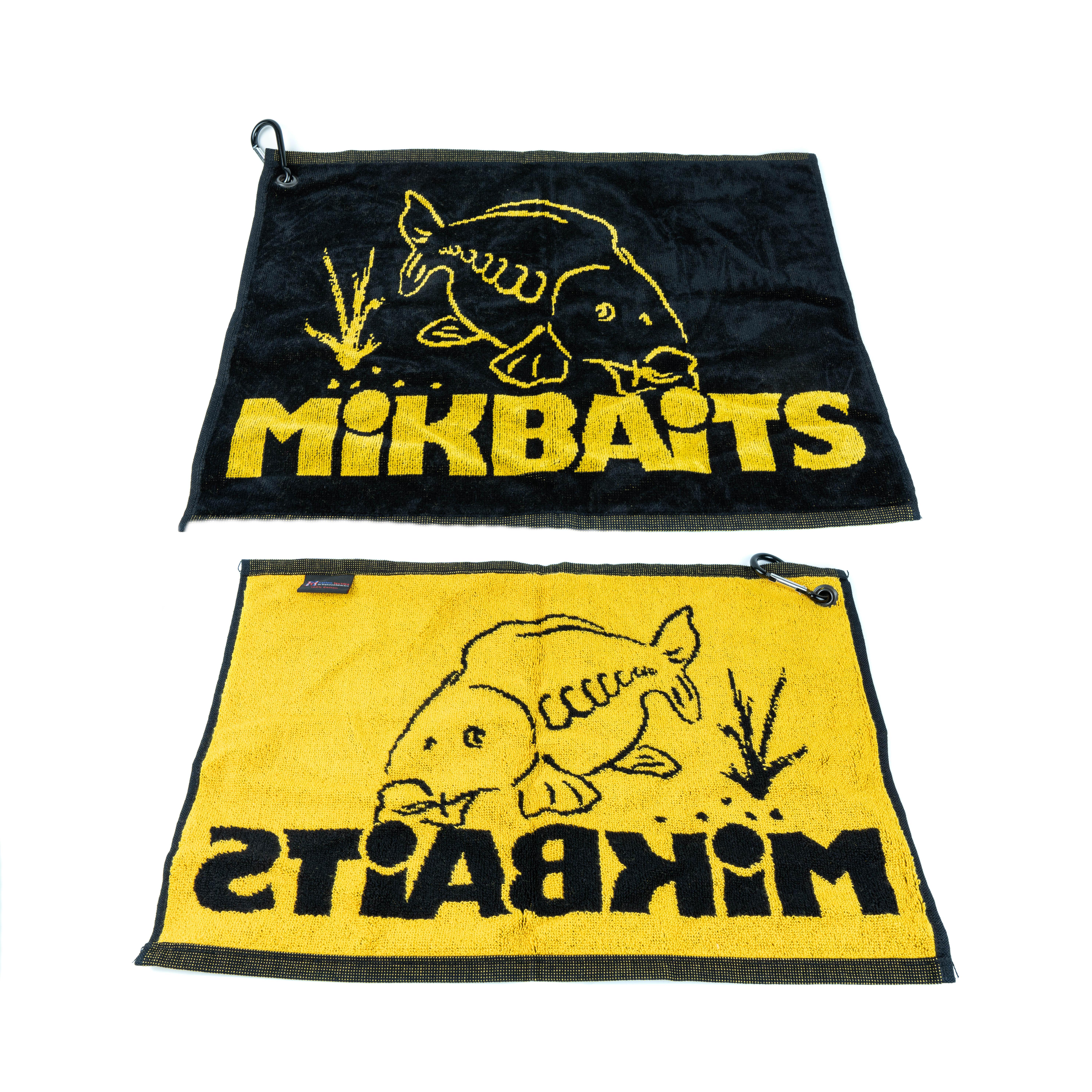 Propagační předměty - Mikbaits ručník černo žlutý s karabinou
